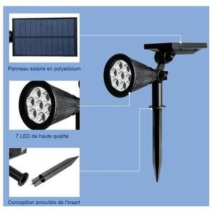 COSTWAY Lot de 4 ProjecteursLampesSolairesExtérieur 7 LED,Etanche IP65 avec RéglableEclairage pour Jardin,Allée,Chemin