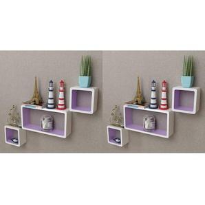 Étagères murales Forme de cube 6 pcs Blanc et violet