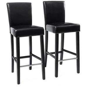 2x tabourets de bar en PU avec dossier chaise rembourrée noir LDC31B - SONGMICS