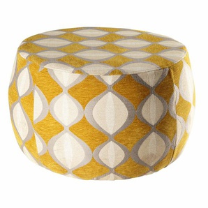 Pouf jacquard de velours moutarde et beige SPACE
