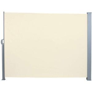 Auvent store latéral brise-vue abri paravent soleil aluminium rétractable hauteur 160 cm longueur 300 cm beige - HELLOSHOP26