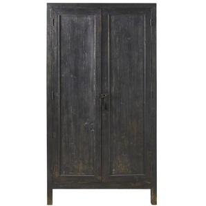 Armoire 2 portes en métal noir effet vieilli Sabi