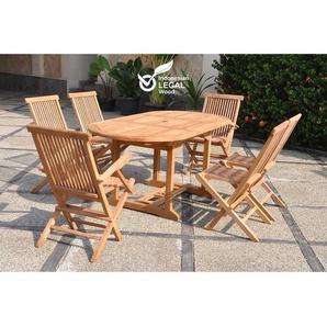Kajang : Salon de jardin Teck massif 6 personnes - Table ovale + 4 chaises + 2 fauteuils