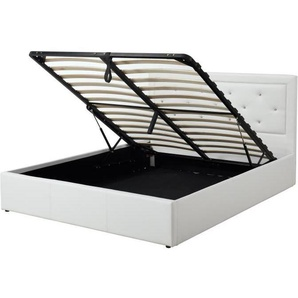 FILIP Lit coffre adulte contemporain simili blanc - Sommiet et tête de lit capitonnée inclus - l 160 x L 200 cm