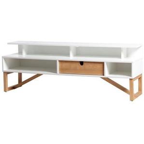 ALIA Meuble TV 1 tiroir - Décor blanc ciré - L 139 x P 37 x H 50 cm