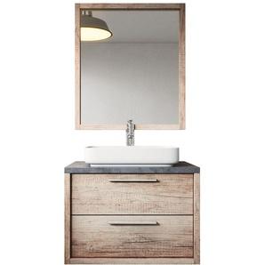 Meuble de salle de bain Indiana 70cm lavabo nature wood – Armoire de rangement Meuble lavabo miroir - BADPLAATS