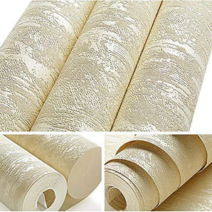 Blanc, Brun Résumé Métallique Plaine En Relief 3D Texture Papier Peint De Luxe Épais Papier Peint Pour Chambre Salon Décor À La Maison 10mx53cm J02305