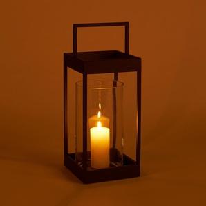 Lanterne en verre et métal H50x18cm