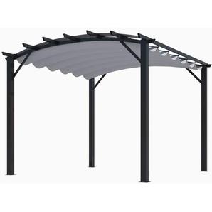 Pergola structure mixte 11,22 m2 - toile couleur grise - HABRITA