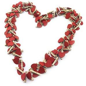 Sepkina Lot de 100 Petites Pinces décoratives en Bois avec cœurs et cœurs Blanc/Rouge
