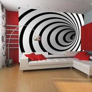 Papier peint - Tunnel 3D noir et blanc