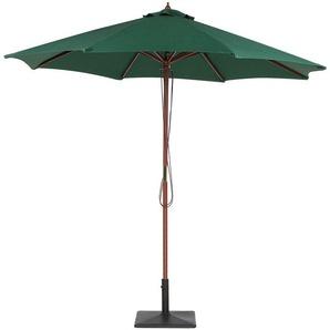 Parasol avec pied central en bois et toile en tissu vert - BELIANI