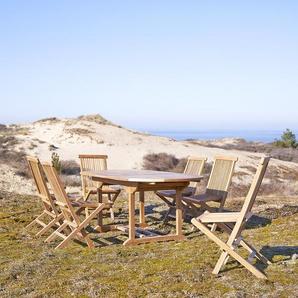 Salon de jardin en bois de teck 180 Capri 6 chaises