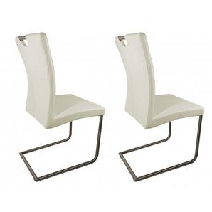Lot 2 chaises design grises en simili cuir - ADRIANA - Gris - MEUBLETMOI