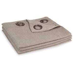Rideau à illets en coton taupe à lunité 140x250