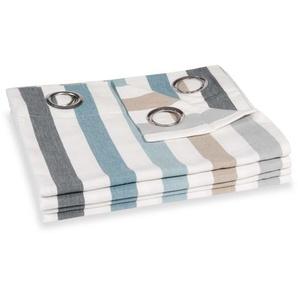 Rideau à oeillets en coton motifs à rayures à lunité 140x250