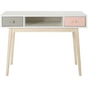Bureau vintage blanc 2 tiroirs gris et rose Blush