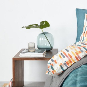 Korba, couvre-lit en soie 225 x 220 cm, bleu canard et gris graphite