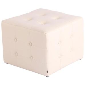 Tabouret pouf Cubic 44 x 44 cm similicuir beige - TIMWOOD EXPERIENCE