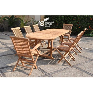 Kajang : Salon de jardin Teck massif 8 personnes - Table ovale + 6 chaises + 2 fauteuils