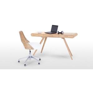 Hailey, chaise de bureau pivotante, frêne et blanc
