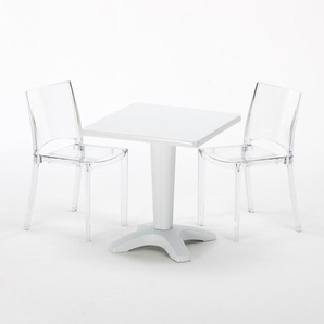 Table et 2 chaises colorées polycarbonate extérieurs Grand Soleil CAFFÈ | B-Side Transparent - Blanc