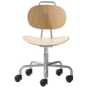 Richard Lampert Turtle - Chaise enfant pivotante sur roulettes - hêtre/piètement couleur argent/bois/H: 30-41,5cm