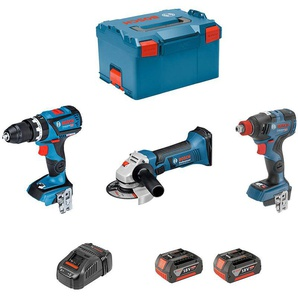 BOSCH Kit GSB 18V-60C + GDX 18V-200C + GWS 18-125V-LI (2 x 5,0Ah + GAL1880CV + L-Boxx 238)