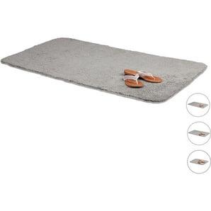Tapis de bain gris salle de bain tapis 70x120 cm antidérapant tapis de bain gris anthracite lavable, gris - RELAXDAYS
