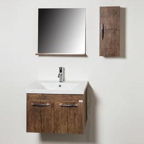 Ensemble meuble de salle de bains rustique 4 pièces 65 cm Rustique - Woody - BASCO BATH