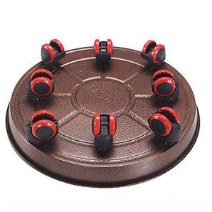 La palette mise en pot ronde en acier avec 8 roulettes en caoutchouc, support de lusine 200kg / 440lb résistant avec des roues, plateau de fleur de moulage mécanique sous pression pour dintérieur, e