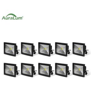 10×Auralum 20W Projecteur LED IP65 Spot LED Blanc Froid 6000K Éclairage Extérieur et Intérieur 1600-1700LM Coque Noir