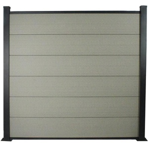 Kit Clôture 4.8x1.6m composite et aluminium + profilés de finitions - Gris - Kit de fixation offert - HABITAT ET JARDIN