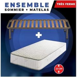 Lot de 2 Matelas + Sommier + pieds Offerts 90x190 Mousse Poli Lattex Ind - KING OF DREAMS