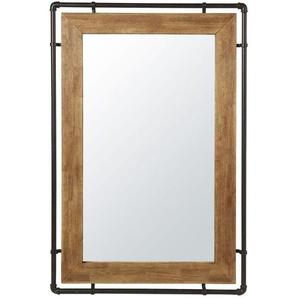 Miroir en hévéa et métal noir 80x120