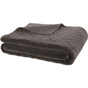 Boutis en coton gris charbon motifs losanges 240x260