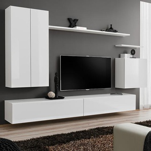 Meuble TV suspendu blanc laqué IRSINA 3