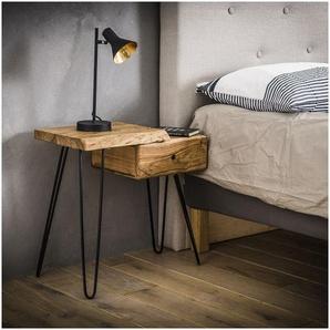 Table de chevet vintage en bois massif avec tiroir à droite Jules - Naturel - VIVABITA