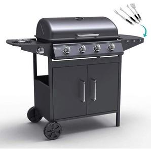 Barbecue au gaz en acier inox avec 4+1 brûleurs et grille AYSHIRE - MR TUZZA