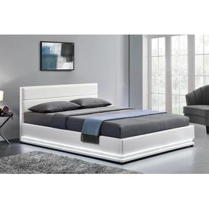 Lit New York - Structure de lit en simili Blanc avec rangements et LED intégrées - 140x190 cm