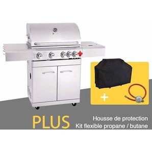 GREADEN- BBQ Grill Barbecue À Gaz INOX PHÉNIX - 4 BRÛLEURS+1 FEU LATÉRAL et Thermomètre, Puissance Totale 17.5KW, 1 Grille + 1 plancha offerts kit flexibile + Housse