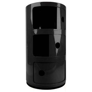Kartell Componibili 3 - Conteneur - noir/brillant/H 59cm/ Ø 32cm