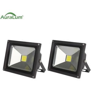 2×Auralum 30W Projecteur LED IP65 Spot LED 2500-3000LM Éclairage Extérieur et Intérieur Blanc Froid 6000-6500K Coque Noir