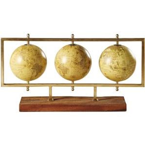 Statuette 3 globes terrestres en métal doré L49