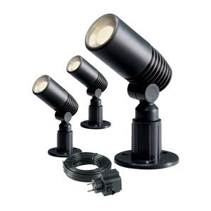 Pack 3 Spot projecteur à piquer ALDER 2W GU5.3 MR11 IP44 Blanc Chaud Orientable EXT Garden lights ampoule câble transfo fourni -