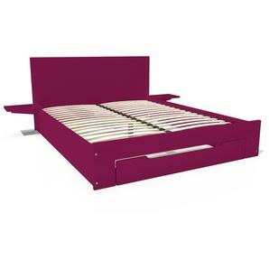 Lit Happy + tiroirs + chevets amovibles - 2 places 140x200 Prune