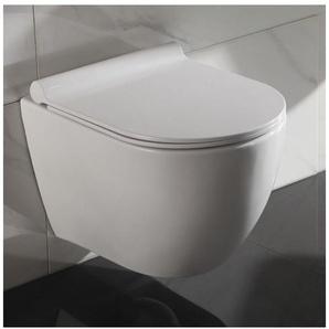 WC Suspendu Ovale - Avec Abattant - C�ramique Blanc - Sans Bride - 49x36 cm - Cort - RUE DU BAIN