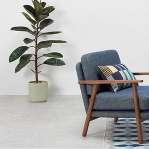 Lars, fauteuil d'appoint, tissu bleu chiné rétro et bois teinté