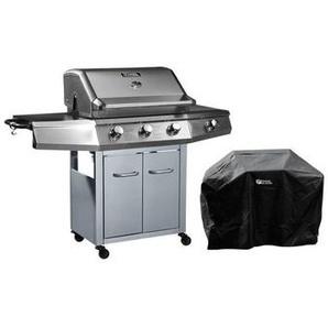 Barbecue Gaz Bingo 4 - 4 brûleurs dont 1 latéral - 14kW + Housse protection - Argenté - HABITAT ET JARDIN
