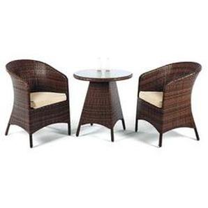 Salon De Jardin Sofa FLAND en ACIER Résine tressée marron Coussins couleur ECRU ALBA - HEVEA